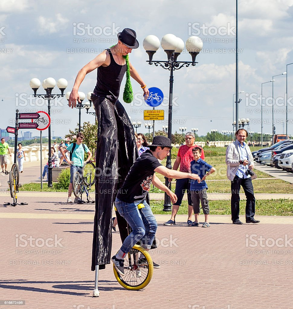 Flash mob of circus performers stock photo