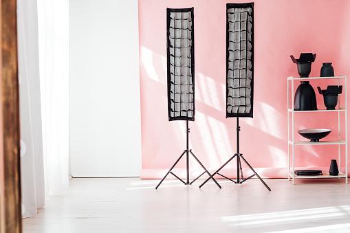 istock Flash photo studio accessories photographer equipment interior 1218224647