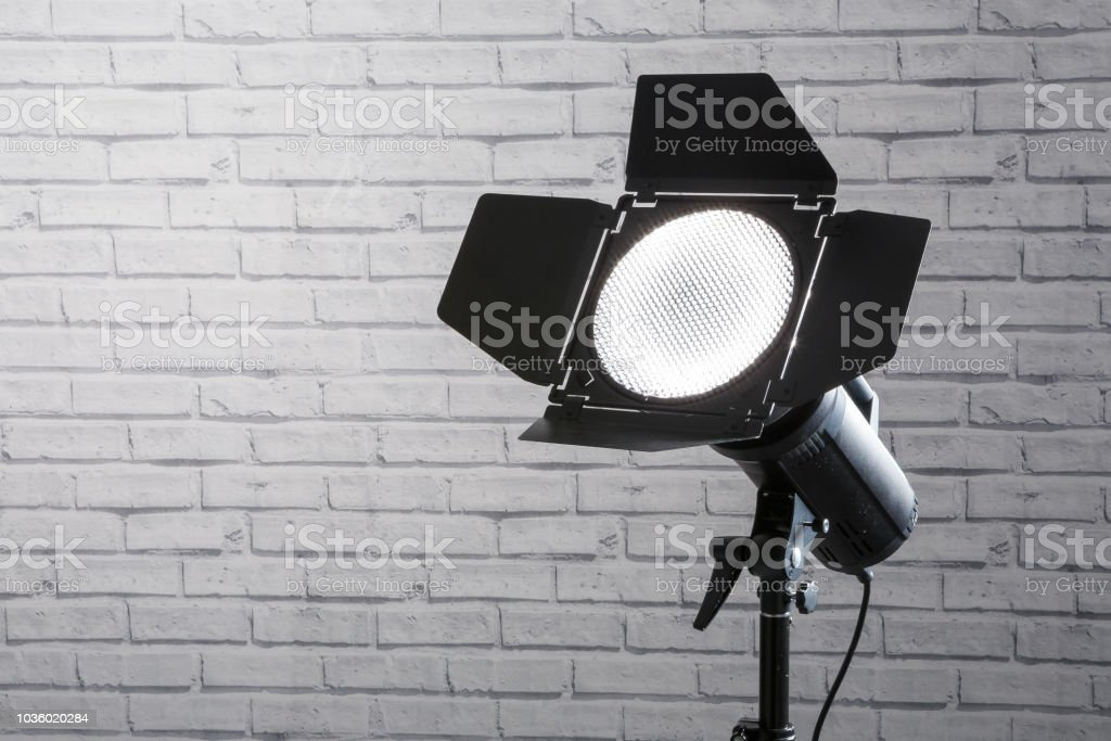 flash with barn doors photo equipment strobe on the stand in the