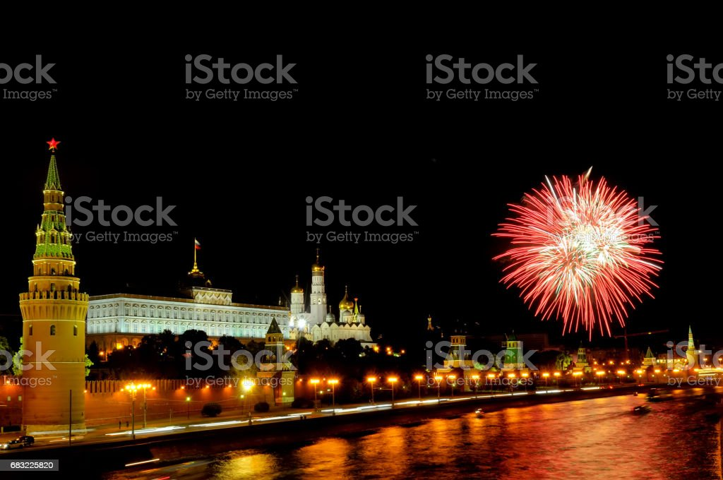 Flashes of pink and white fireworks near Moscow Kremlin 免版稅 stock photo