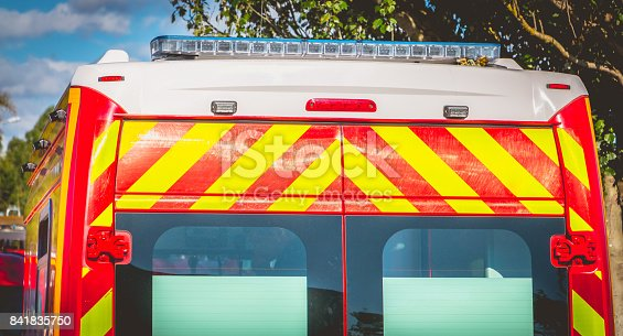 174913699 istock photo flashing light on a red ambulance firefighters 841835750