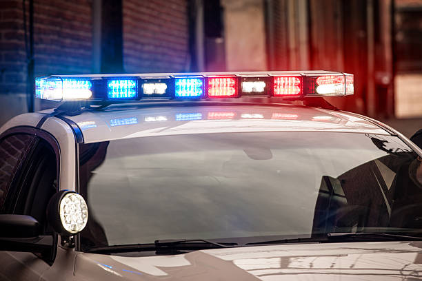 Flashing Lights on Police Car stock photo