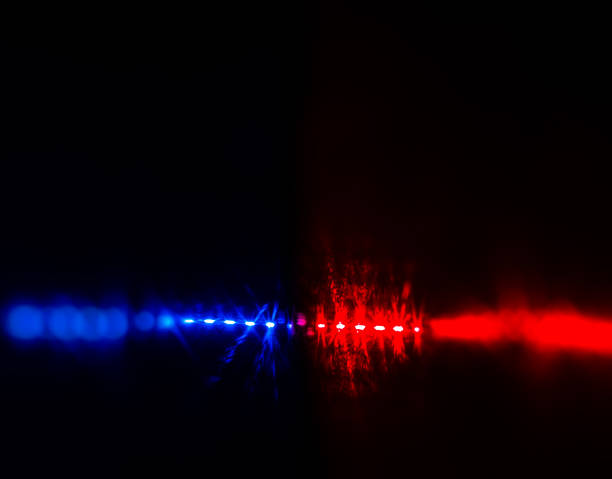 Flashing red and blue police car lights in night time. stock photo