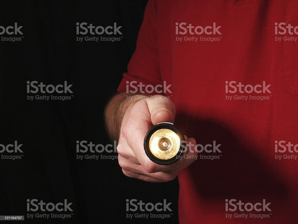 Flashlight Searching Man stock photo