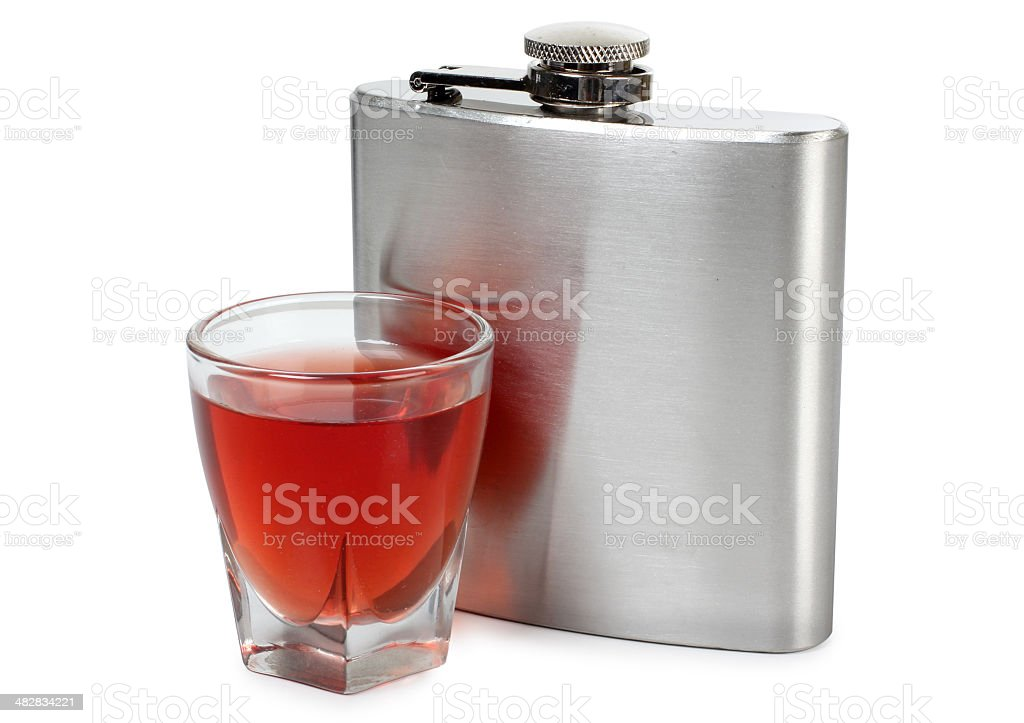 Flask and whiskey royalty-free stock photo
