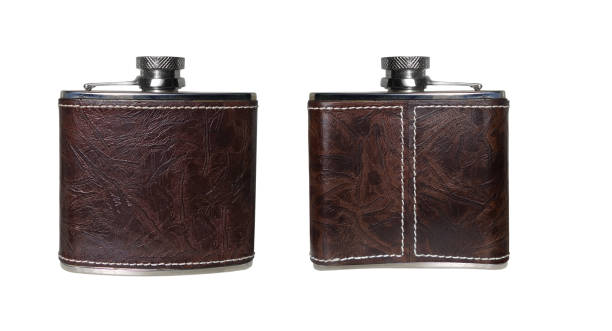flask of cognac - flask stock photos and pictures
