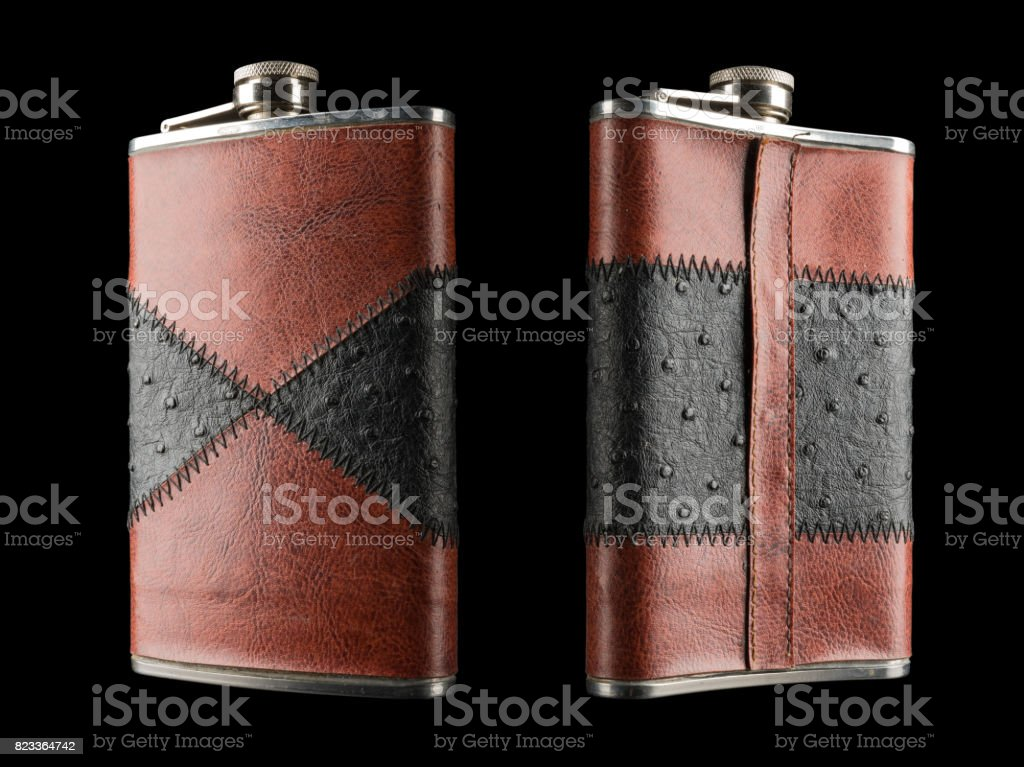 flask on the black background stock photo