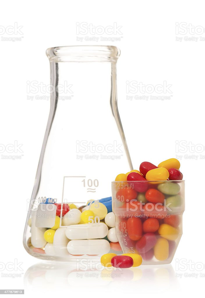 Flask with pills royalty-free stock photo