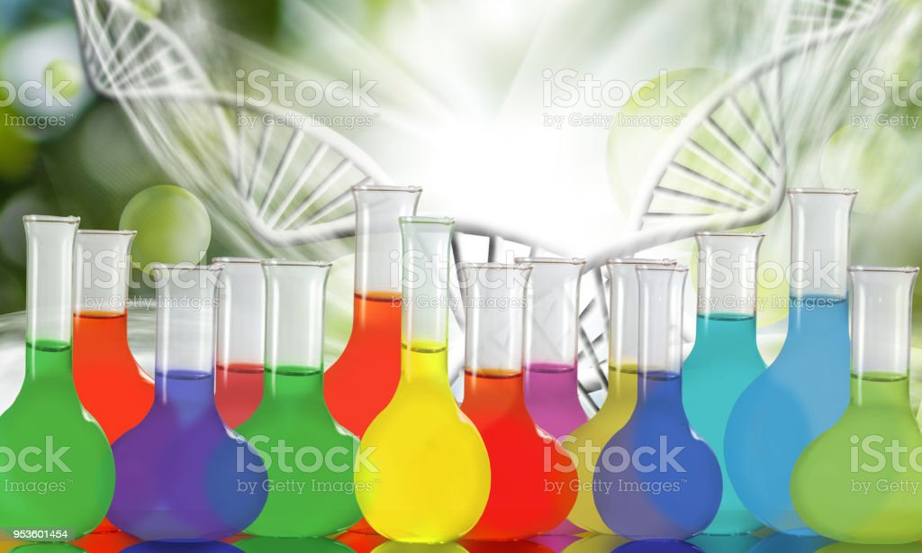 flasks with chemical media stock photo