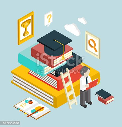 istock Flat 3d Web Isometric Education Graduation Infographic 547223578