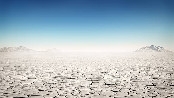 Flat and barren desert away from society stock photo