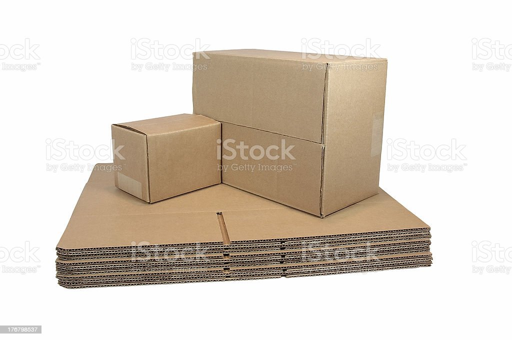 Flat and Sealed Shipping Cartons (with clipping path) stock photo