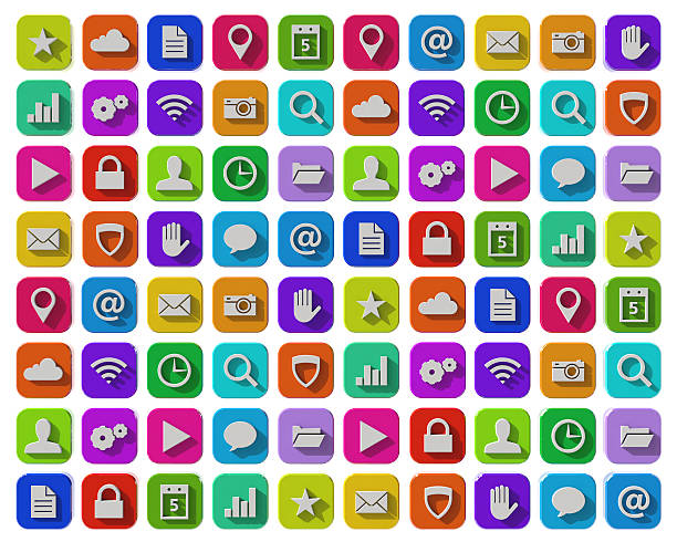flat apps icons - flat design stock photos and pictures
