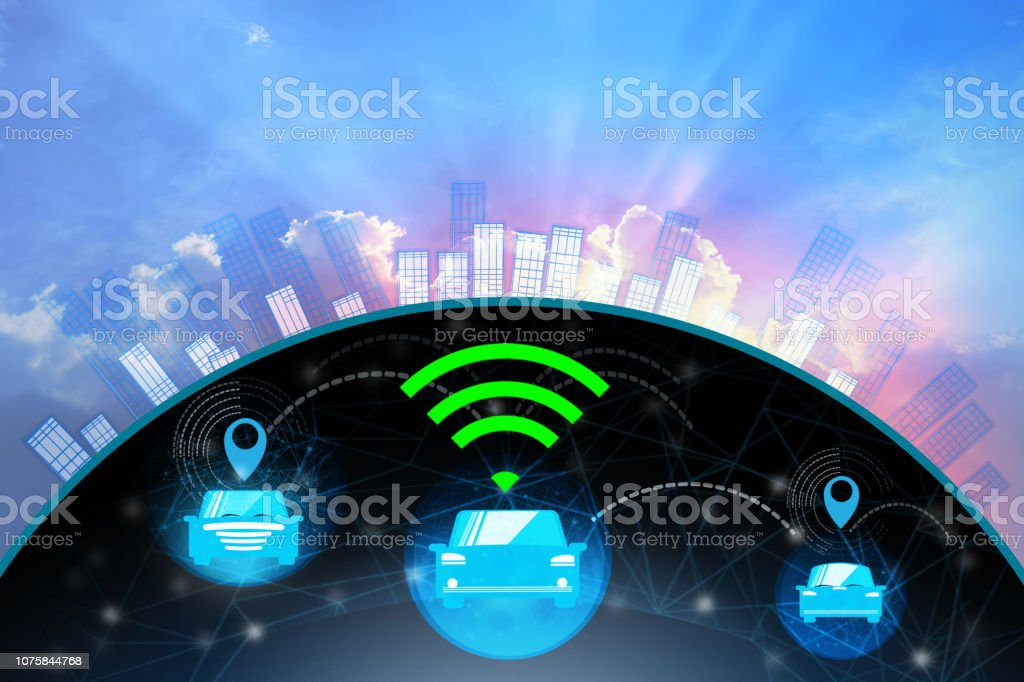 Flat background ,Content electric smart car technology and empty space for text. stock photo