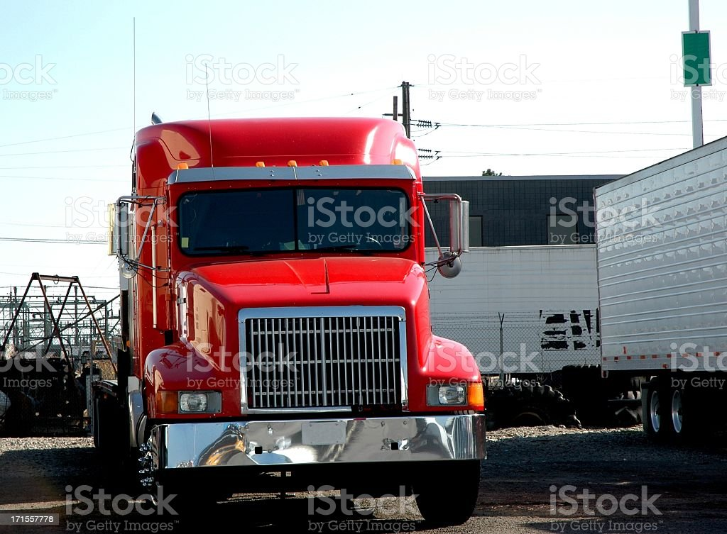 Flat Bed Trailer Transport Truck royalty-free stock photo