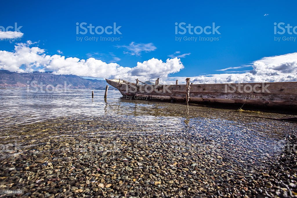 Flat bottom boat stock photo