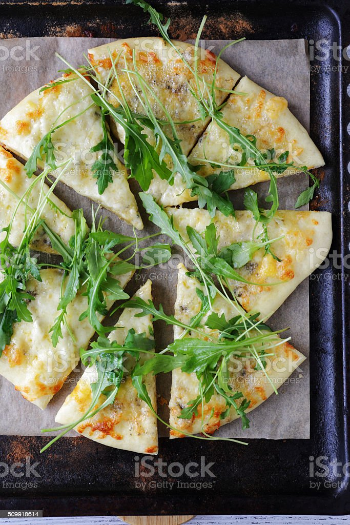 flat bread with cheese stock photo