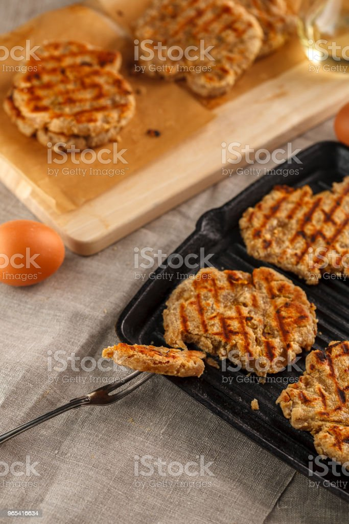 flat breads with cheese, onion and garlic on the grill royalty-free stock photo