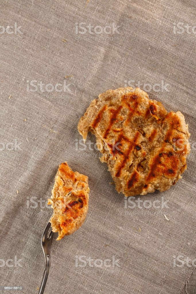 flat breads with cheese, onion and garlic on the textile. Top view. Flatlay. Copyspace zbiór zdjęć royalty-free