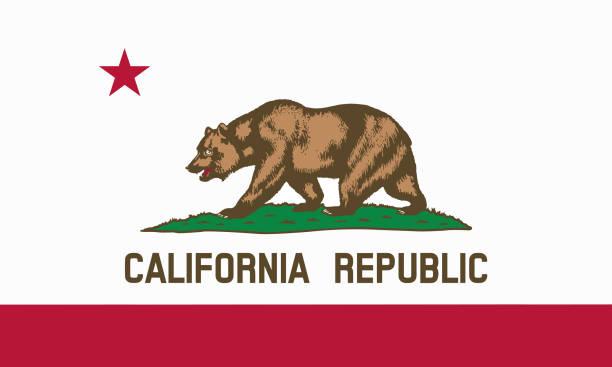 plana bandera del estado de California - Estados Unidos - foto de stock