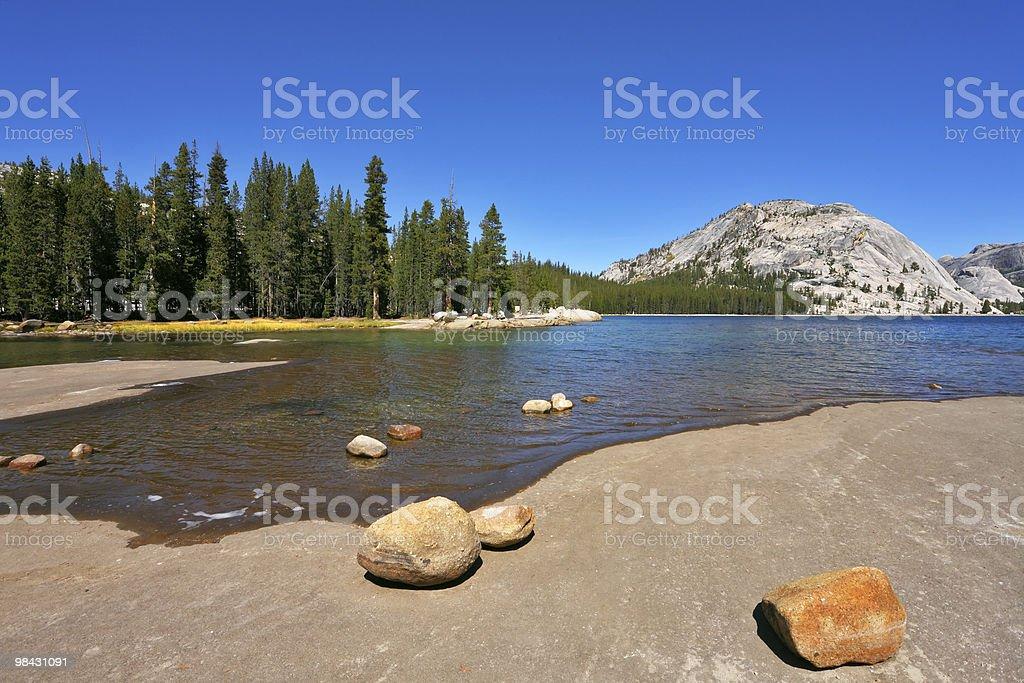 Flat coast of beautiful mountain lake royalty-free stock photo