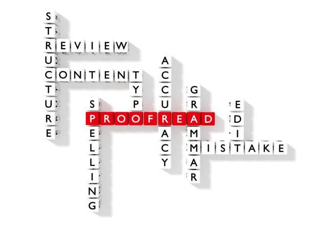 Flat crossword puzzle showing proofreading keywords as dice stock photo