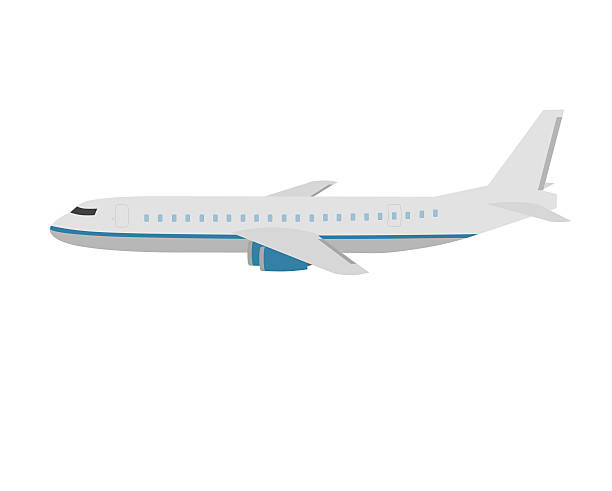 flat design airplane isolated on white stock photo