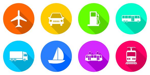 Flat design transportation icons on white background