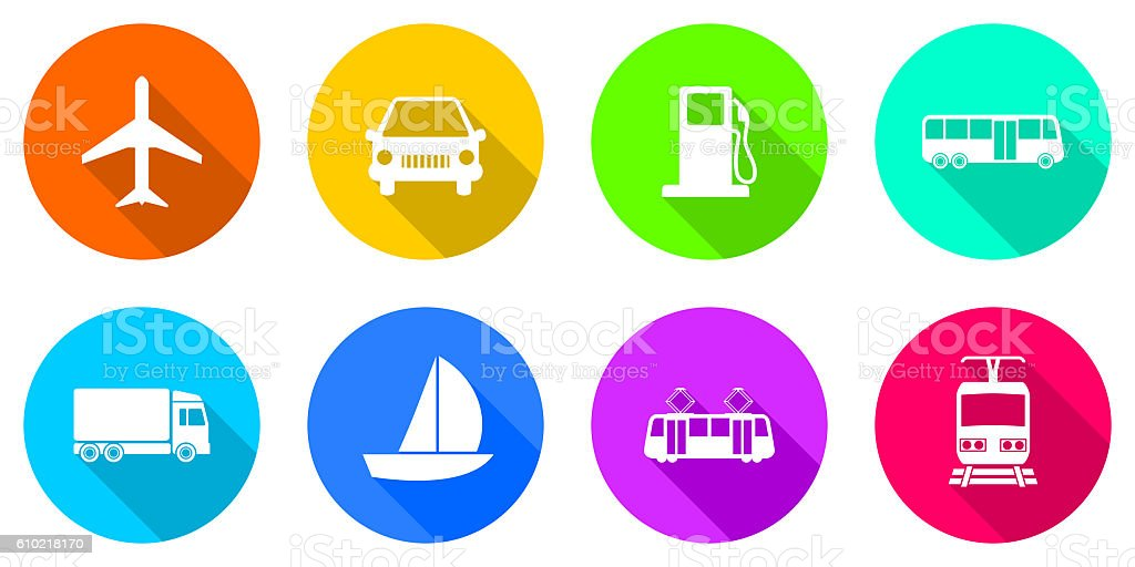 Flat design transportation icons stock photo