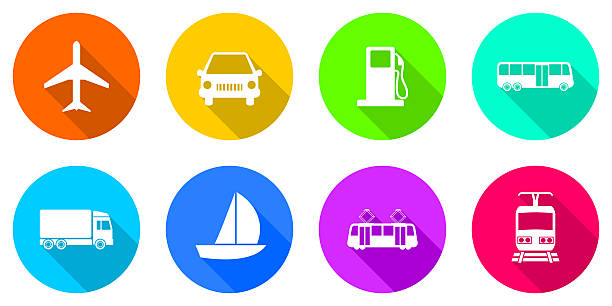 flat design transportation icons - icone foto e immagini stock