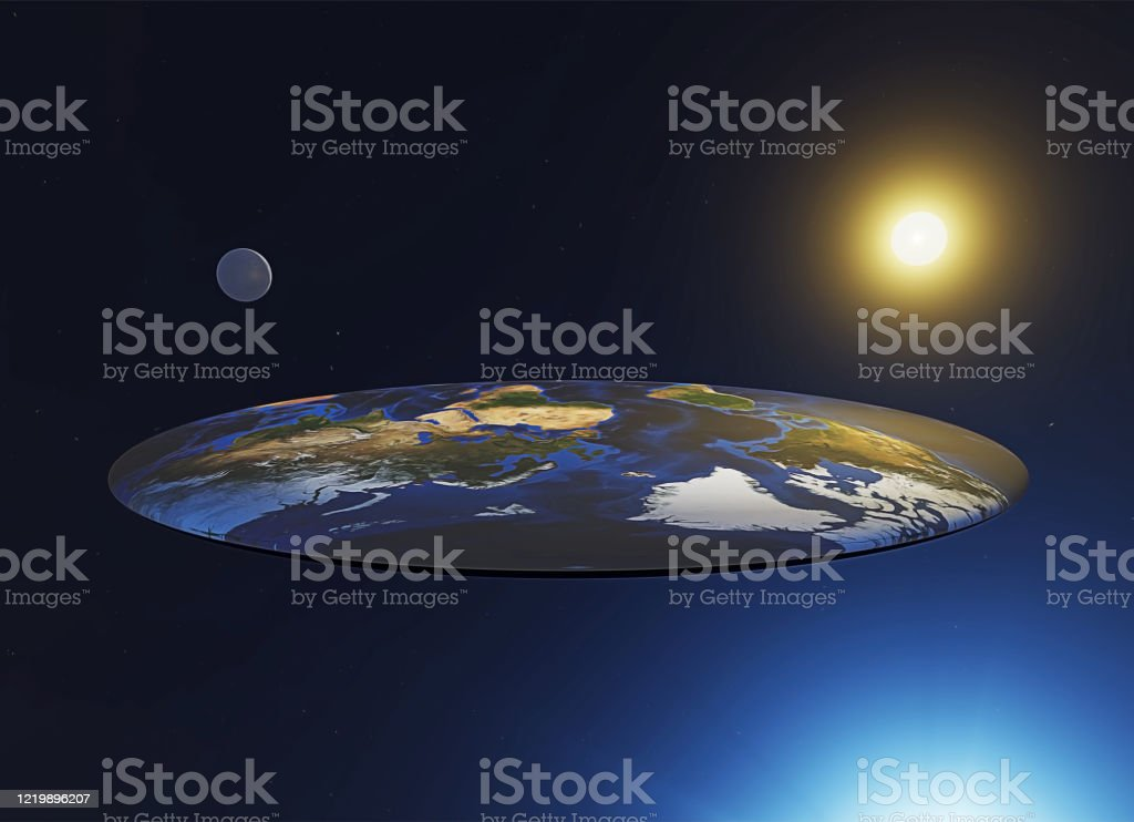 Flat earth view, myths and legends. Discworld, a parallel universe Flat earth view, myths and legends. Discworld, a parallel universe. 3d illustration Ancient Stock Photo
