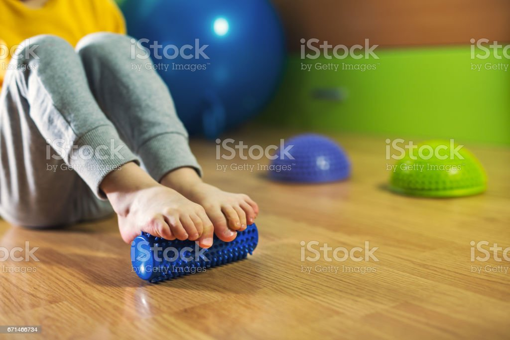 Flat feet correction exercise stock photo