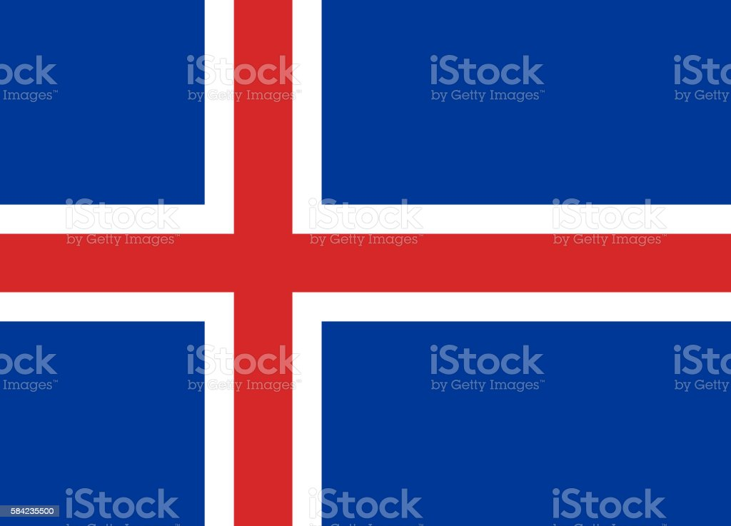 Flat Flag of Iceland - foto de stock