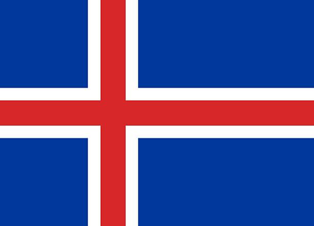 Flat Flag of Iceland - foto de acervo