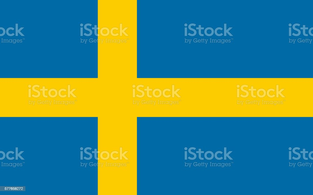 Flat Flag of Sweden - foto de acervo