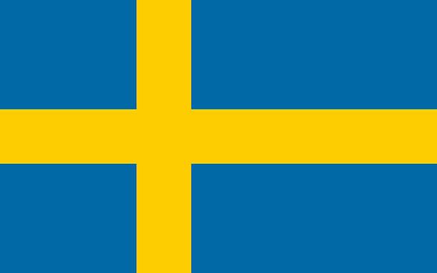 Flat Flag of Sweden - foto de acervo