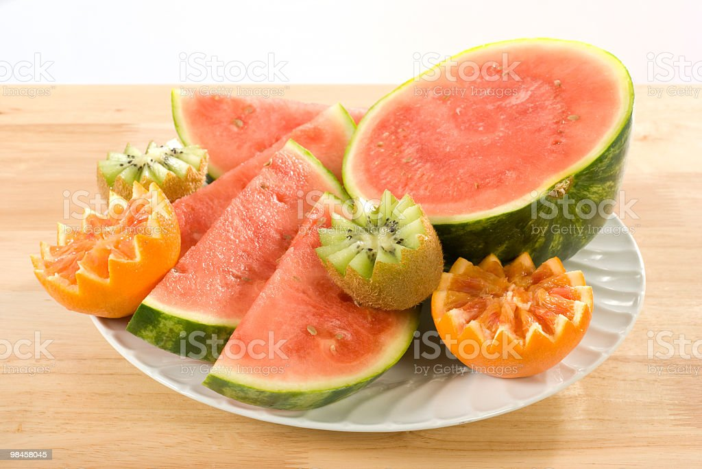 fruit plate arrangement, assiette de fruits royalty-free stock photo