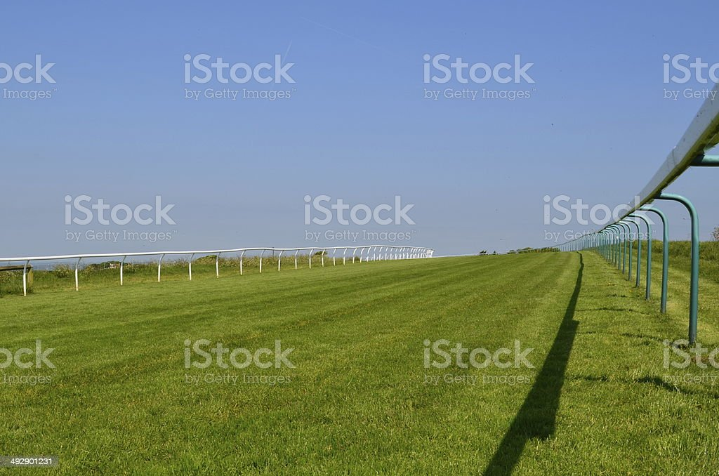 Flat horse racing course. stock photo
