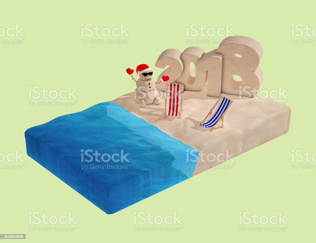 Flat Isometric Piece of Beach with Sandy Christmas Snowman, Beach Chairs and 2018 New Year Sign. 3d Rendering stock photo