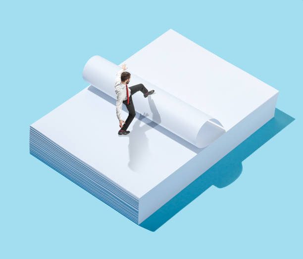 flat isometric view of businessman going at blank sheets of paper with empty copy space - advertising isometric stock photos and pictures