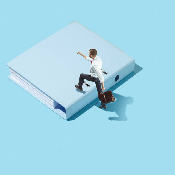 flat isometric view of businessman going at folder with documents with empty copy space - advertising isometric stock photos and pictures