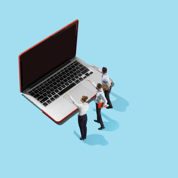 flat isometric view of businessmen and woman showing at laptop with empty screen - advertising isometric stock photos and pictures