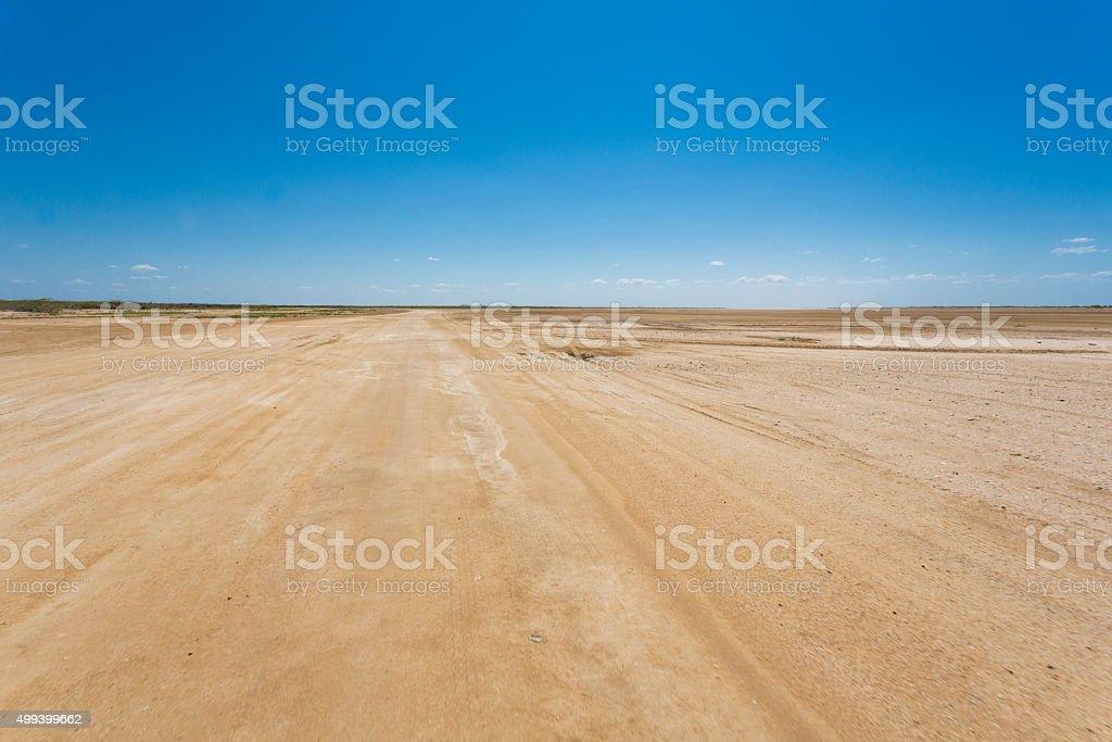Flat landscape in La Guajira with blue sky, Colombia stock photo