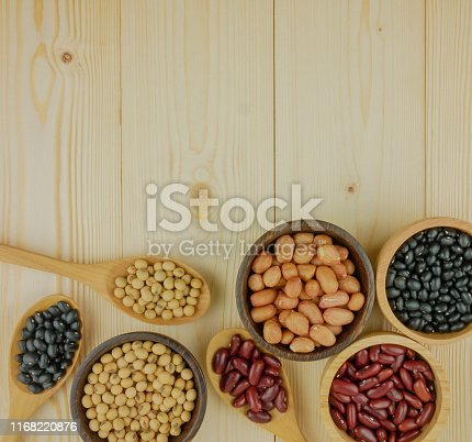 Flat lay,top view assorted beans including red bean,soybeans,black beans,mung beans on brown,beige wooden background with copy space
