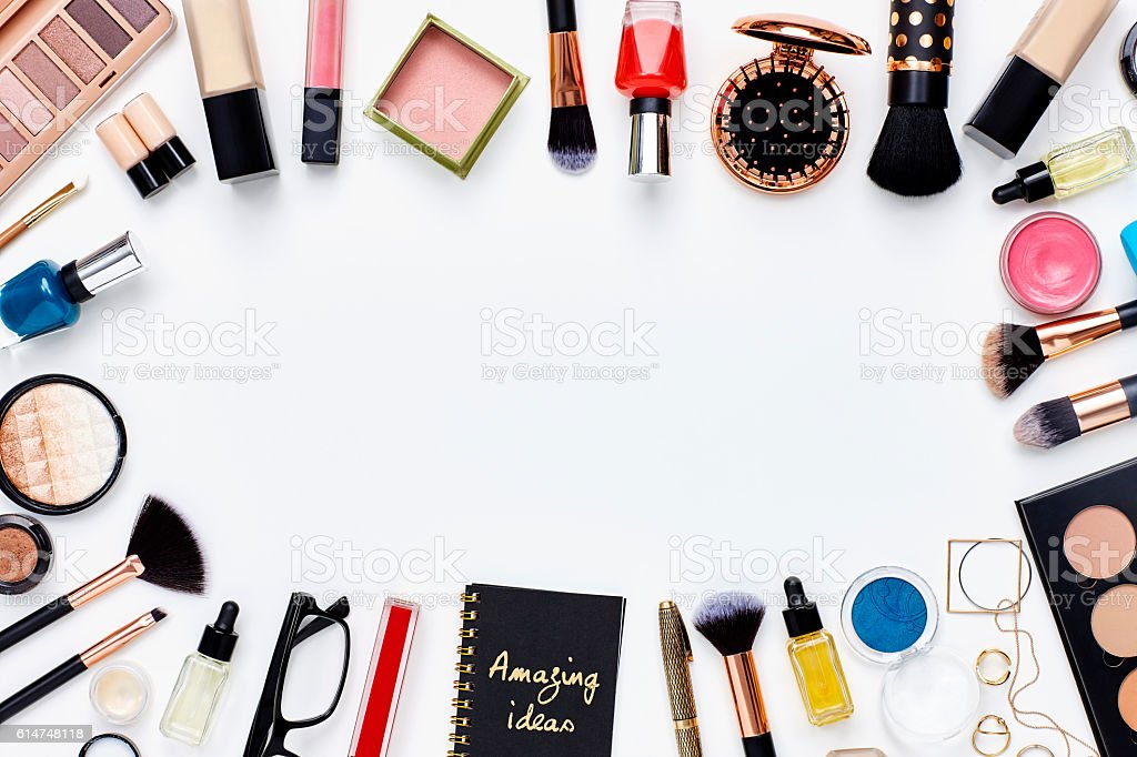 Flat Lay Beauty Products Arranged On White Background
