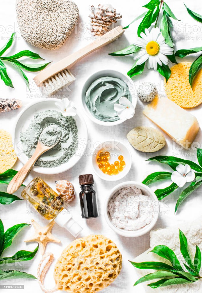 Flat Lay Beauty Skin Care Ingredients Accessories Natural Beauty Products  On A Light Background Top View Stock Photo - Download Image Now - iStock