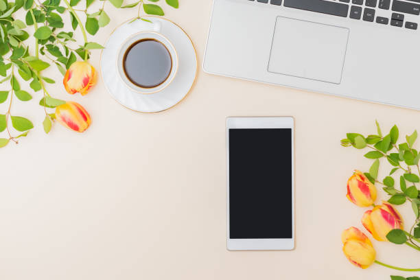 Flat lay blogger or freelancer workspace with a laptop yellow tulips picture id1219775911?b=1&k=6&m=1219775911&s=612x612&w=0&h=hrn3bcv4w1xlrvohpnfqnskli5geosp nruysfcqcba=