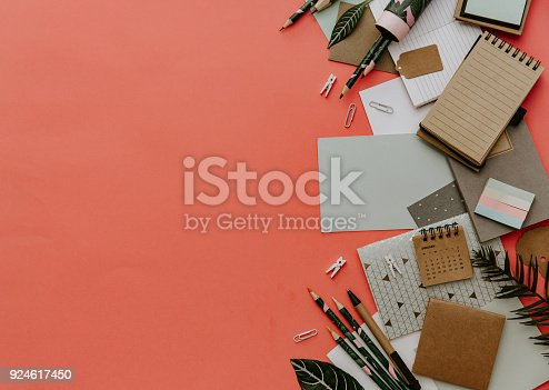 istock Flat lay business office education concept. Assortment of supplies. Copy space background, top view, flat lay 924617450