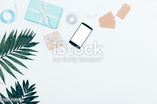 istock Flat lay celebration border with copy space 1031419440