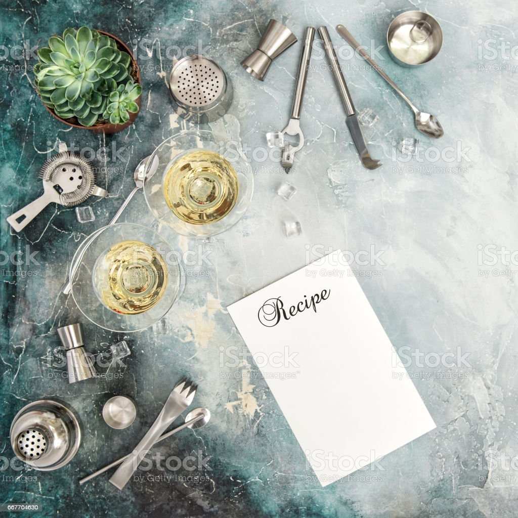 Flat lay champagne succulent plant Drink making tools stock photo